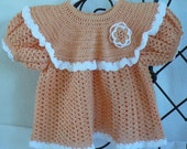 Crafts by Cheri Ready to Go Original Crochet Newborn Baby or Reborn Baby Dress Set Peach/White