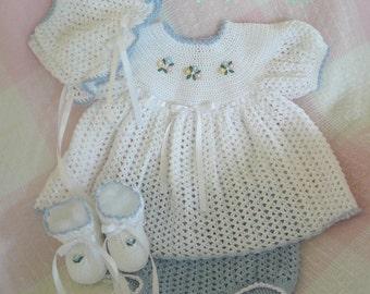 Cheri Crochet Original Baby PATTERN-Newborn size-Dress, Panties, Booties, Bonnet