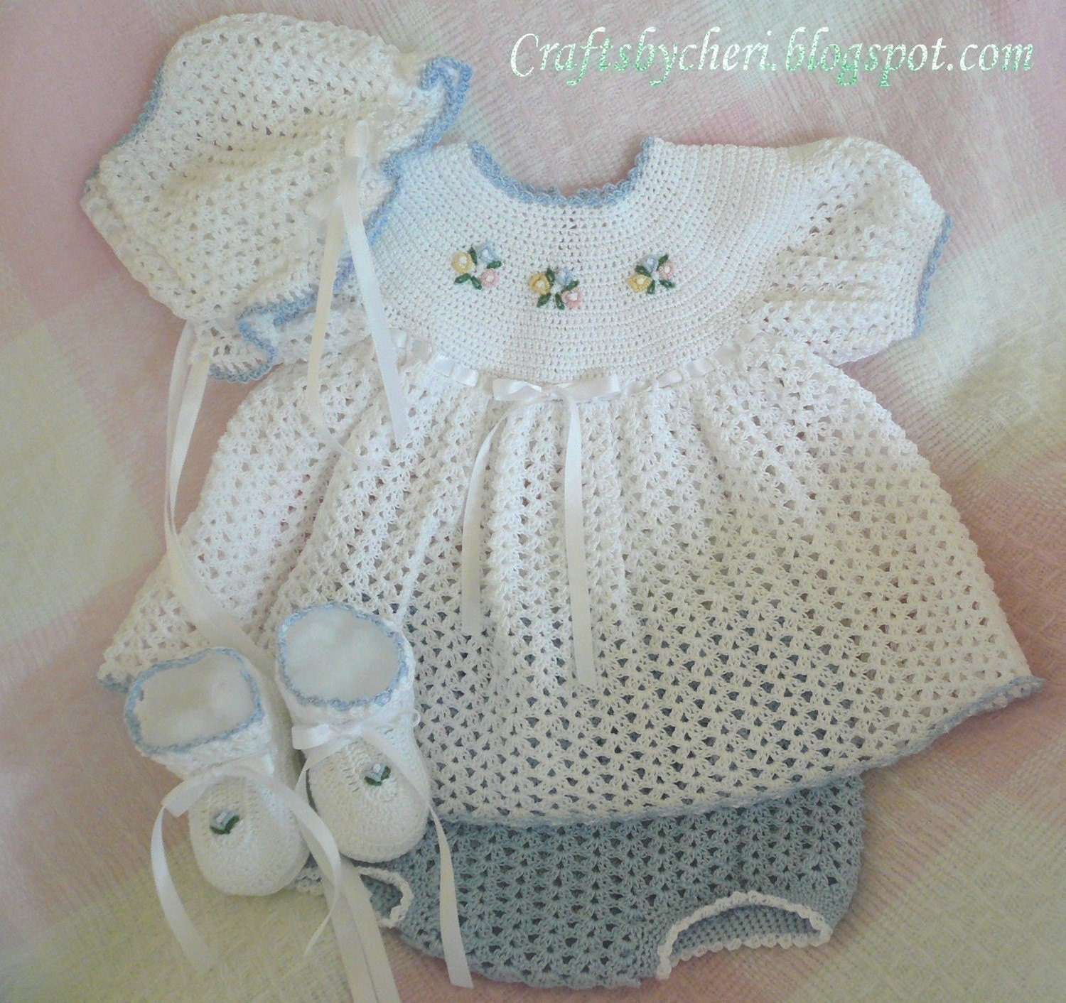 Crochet Baby Dress And Bonnet Pattern : Cheri Crochet Original Baby PATTERN-Newborn size-Dress