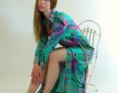 ON HOLD  - Vintage 70s Maxi Dress ART Print Green Fireworks Lounger S M