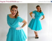 ON SALE Turquoise Blue Chiffon Emma Domb Dress Vintage 60s M  //  Cocktail Party Dresses at Empress Jade