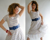 1980s Chevron Striped Vintage Dress M  //  Summer Dresses at Empress Jade