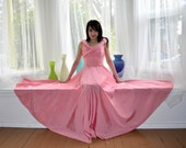 PINK Rayon Evening Gown M Vintage 40s Huge Sweep Party Prom