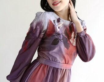 Vintage 70s Dress Purple Plum Floral Secretary  S M Petite  Watercolor Fall Floral Oil Slick