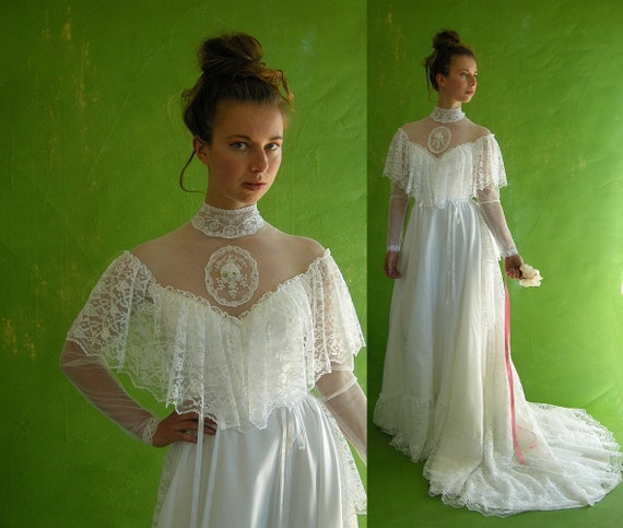 Victorian style vintage 70s wedding dress dripping with lace train
