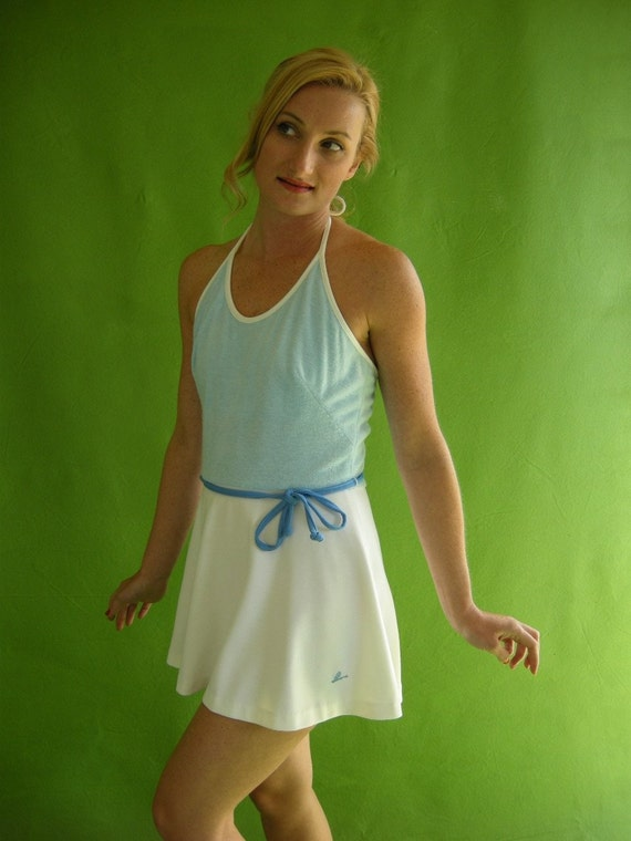 Vintage Mini Dress 70s Tennis Dress Halter Blue And By