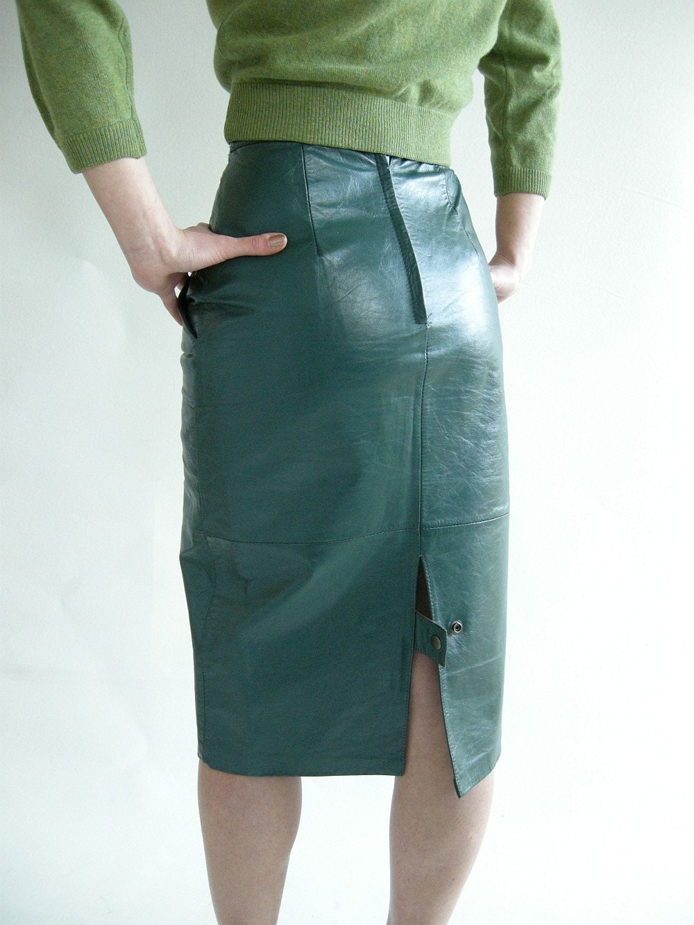 sea green vintage 80s leather skirt xs high waisted by