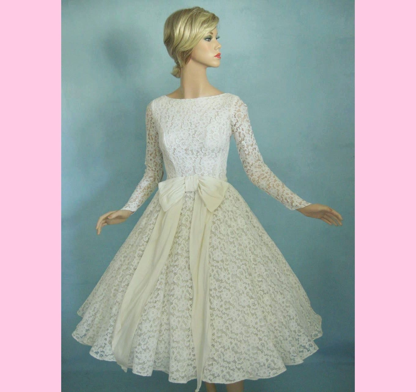 Vintage Style Lace Wedding Dresses: CIRCLE SKIRT 50s Lace Vintage Wedding Prom Dress By