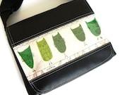 Green owl satchel style messenger bag