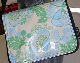 Blue floral messenger bag by Missy Mao Mao