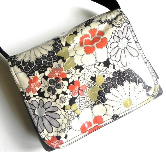 Chrysanthemum Field Messenger Satchel Bag by Missy Mao Mao