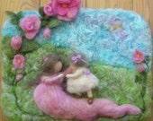 Art - First Steps- Needle Felted Wall hanging / sculptural wool painting Waldorf inspired