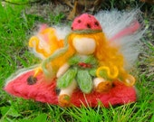 Needle Felted Wool Fairy - Watermelon fairy with giant Watermelon Slice -Waldorf inspired