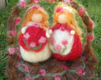 Snow White and Rose Red with Woodland Garden- Needle felted wool fairy soft sculptures  - Waldorf Inspired...