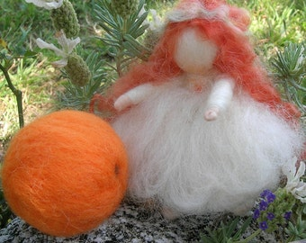 Forest Elf Bendy with Orange Treasure- Waldorf Inspired Needle Felted Soft Sculpture -Elsa Beskow Inspired