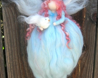 Peace Blessing Fairy Needle felted wool fairy angel Waldorf inspired with Dove