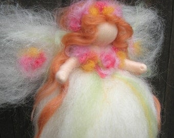 "Needle felted 8"" Ethereal Garden Fairy Waldorf inspired  By Rebecca Varon - blessing angel"