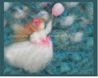 "Printed Note Card - ""Girl in Pursuit"" -image from wool painting"