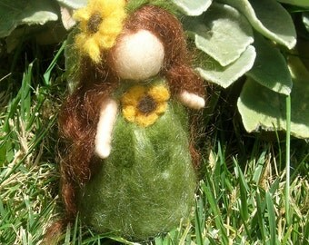 Wool Fairy - Wee Sunflower Fairy Maiden - Needle felted - Waldorf Inspired by Rebecca Varon