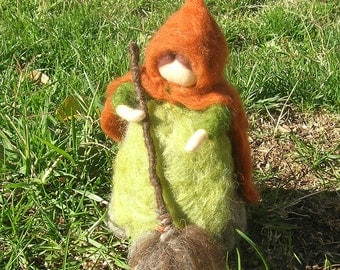 Wool Fairy -Needle felted Wool Mrs. Thaw Elsa Beskow inspired and Waldorf inspired