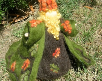 Oak King - Needle felted wool fairy soft sculpture standing doll- Waldorf Inspired...made to order