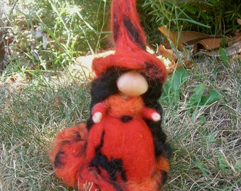 Halloween Witch - Needle felted wool soft sculpture art doll - Waldorf Inspired by Rebecca Varon FREE WORLDWIDE SHIPPING thru Aug 22
