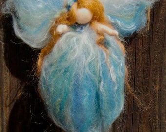 Wee Blue Fairy-  Needle felted wool fairy angel Waldorf inspired by Rebecca Varon