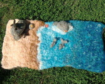 Custom Designed - By the Sea play set - needle felted custom playmat Waldorf Inspired