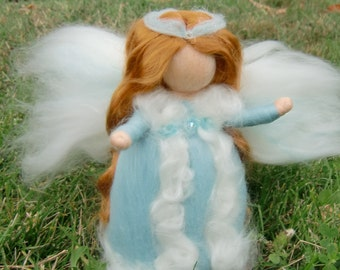 Winter Crystal Fairy -  Needle felted wool soft sculpture - Waldorf Inspired by Rebecca Varon