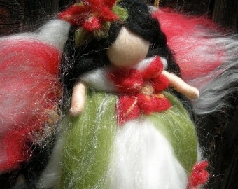 Christmas Angel - Poinsettia Fairy-  Needle felted wool fairy Waldorf inspired by Rebecca Varon