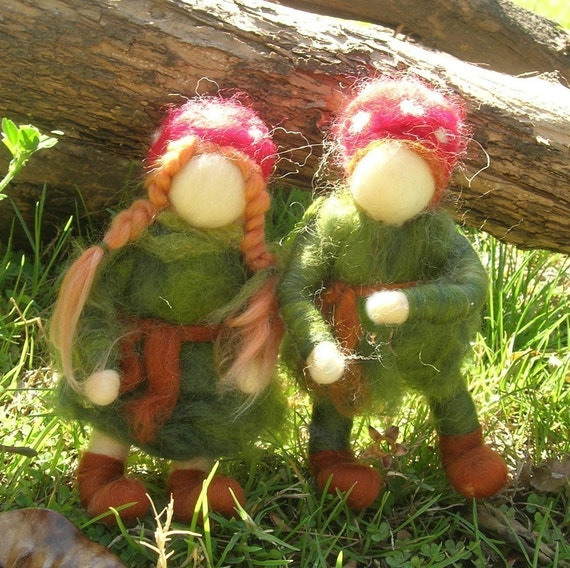 Wee Forest Children-  Needle felted soft sculpture - Elsa Beskow and Waldorf Inspired