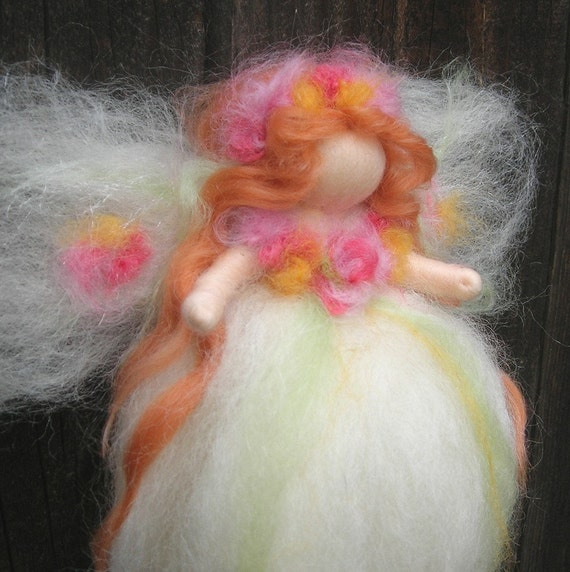 """Needle felted 8"""" Ethereal Garden Fairy Waldorf inspired  By Rebecca Varon - blessing angel"""