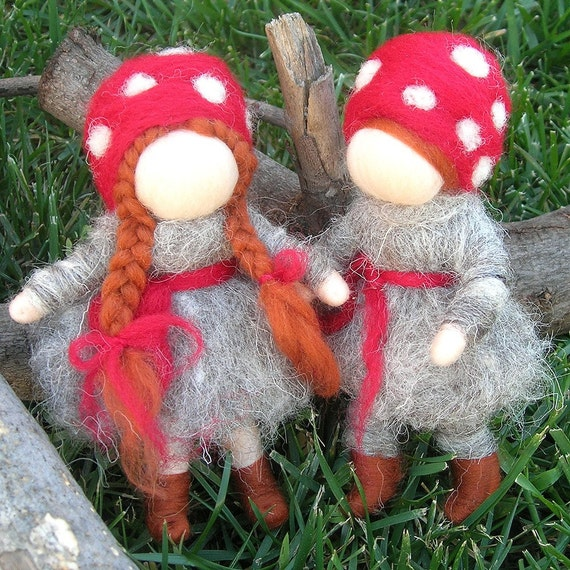 Wee Forest Children in Gray-  Needle felted soft sculpture - Elsa Beskow and Waldorf Inspired
