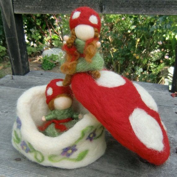 Toadstool House and Forest Children - Needle Felted by Rebecca Varon -Made to order