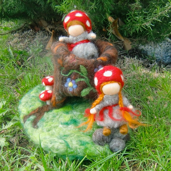 Forest Children and Their Tree Stump Home - Needle Felted Playset by Rebecca Varon, Elsa Beskow inspired