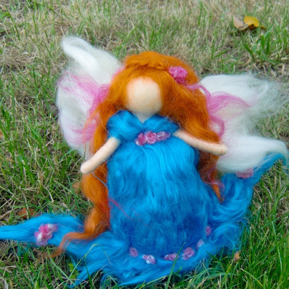 Electric Blue & Fuchsia Garden Fairy -  Needle felted wool soft sculpture - Waldorf Inspired by Rebecca Varon