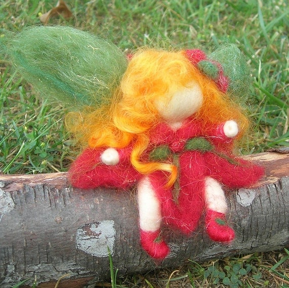 Ornament - Poinsettia Pixie Fairy- Waldorf Inspired Needle Felted Soft Sculpture