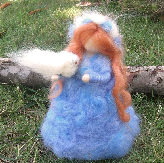 Wool Angel - Winter Peace Maiden with Dove- Waldorf Inspired wool needle felted standing doll