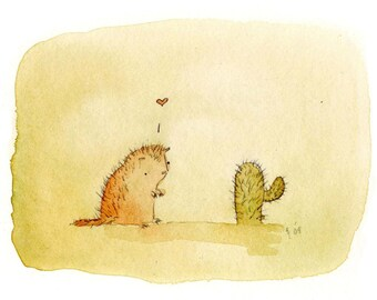 porcupine loves cactus greeting card