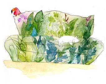 Cat on a couch (greeting card)