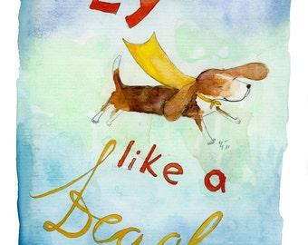 Fly Like a Beagle (greeting card)
