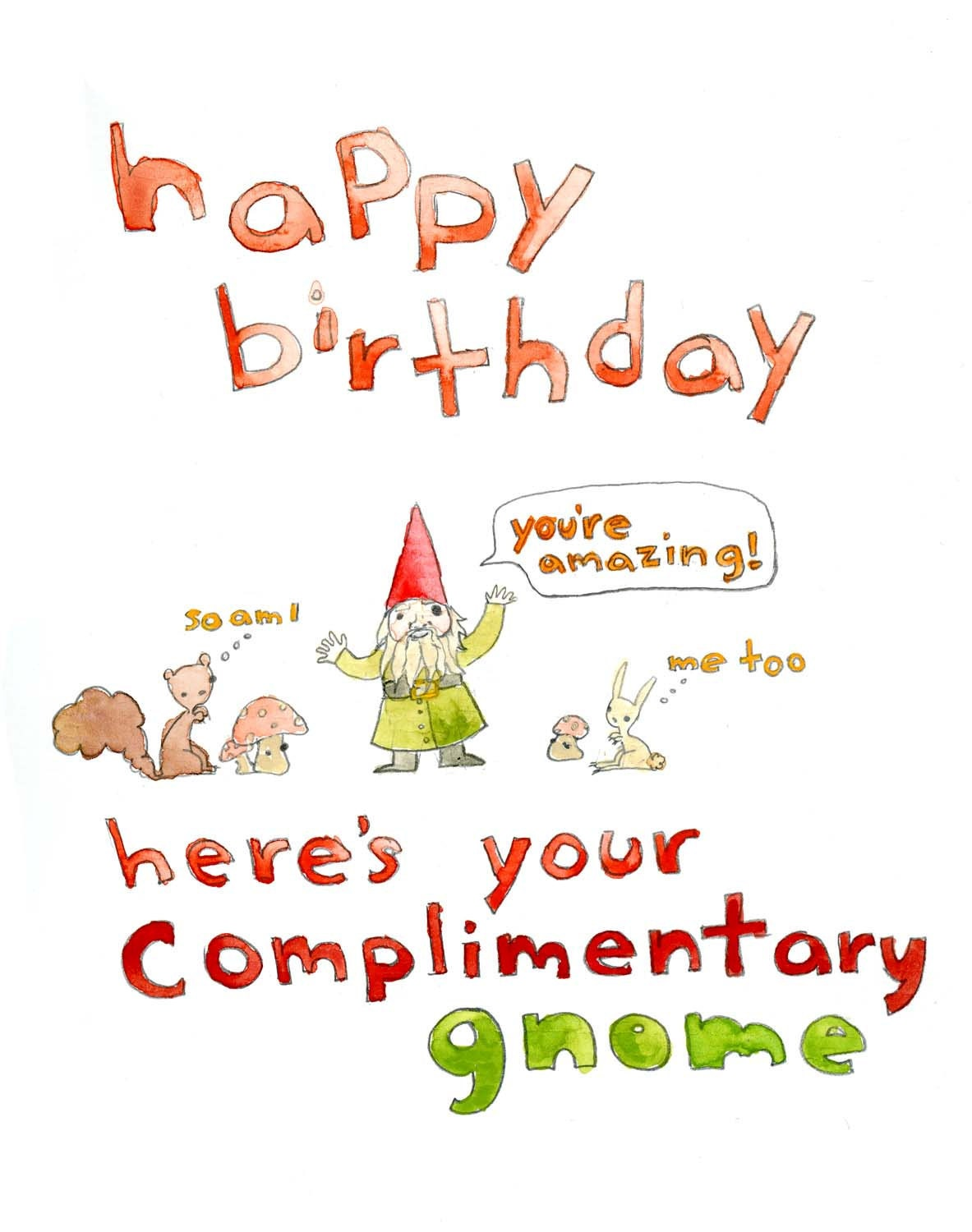 Happy Birthday Complimentary Gnome greeting card by echarrow