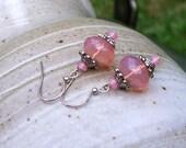 Light Pink Lemonade Czech Glass Silver Dangle Earrings