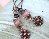 Copper Charm and Rose Pink Swarovski Crystal Dangling Earrings