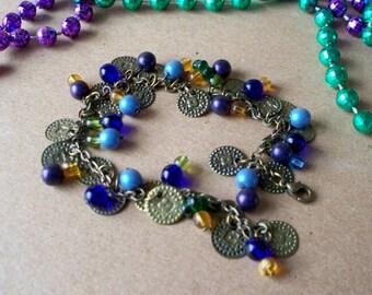 SALE-  Mardi Gras Coin Bracelet