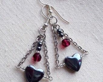 Dangling Heart & Chain Earrings - Unchain My Heart