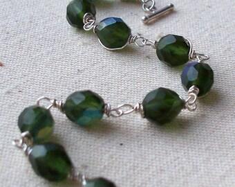 Olive Iridescence - Wire Wrapped Bracelet