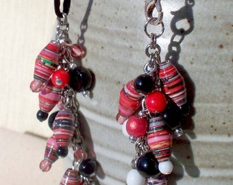 Love in Motion  -  Rolled Paper Beads Pink Red Black Glass Dangle Silver Cord Necklace
