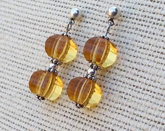 Sunlight - Faceted Glass Post Earrings