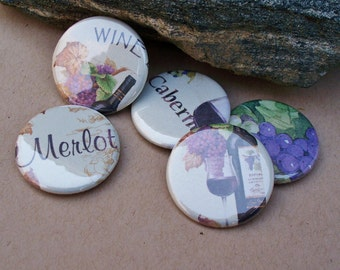 Wine Lover - set of 5 wine themed button magnets